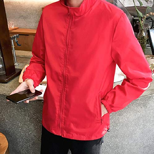 Pockets Jackets Zip Color Full RkBaoye Solid Mens Plus Mandarin Size Red Collar qvApAzw