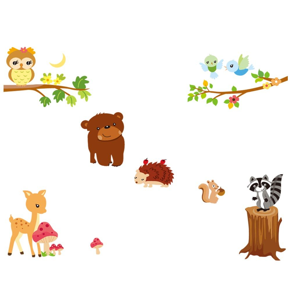 Lovely Owl Bear Deer Enjoy Zoo Party the Moon Night Wall Decor Wall Decal Wall Paper Wall Sticker for Kids Room for Nursery Magic Piggy