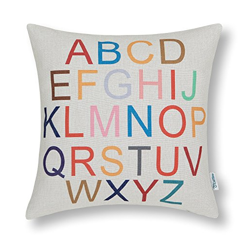 CaliTime Canvas Throw Pillow Cover Shell for Couch Sofa Home Decoration Colorful 26 English Letters 18 X 18 Inches