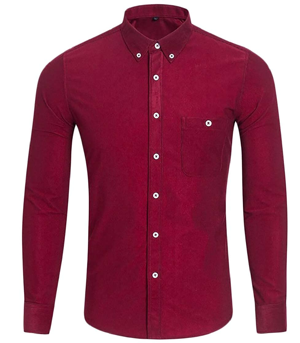 Joe Wenko Mens Corduroy Lapel Neck Pocket Candy Color Relaxed Button Down Shirts