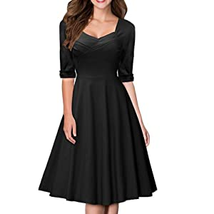 Artfasion Women Rockbilly Vintage Scoop Neckline Midi Swing Dress Party Dress (S, 1506black)