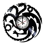 House Targaryen Game of Thrones Handmade Vinyl Record Wall Clock - Get unique room wall decor - Gift ideas for his and her - Modern Unique Home Art Design