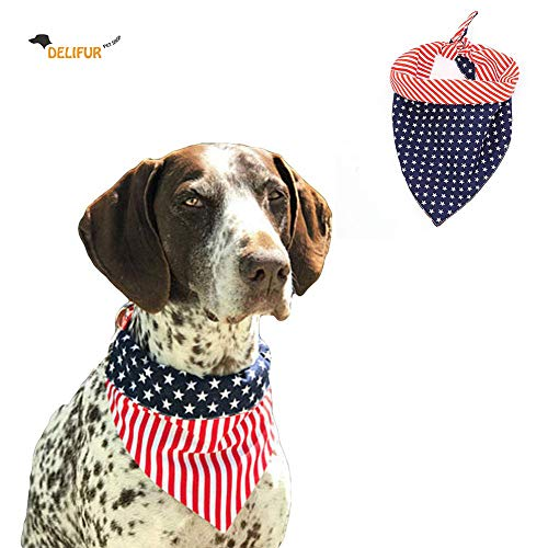 Delifur American Flag Dog Bandana Pet Scarf USA Flag Pet Costume Accessories Decoration for Medium Large Dogs