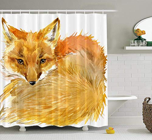 Ansote Animal Shower Curtain Set, Fox Forest Animal Watercolor Woodland Fur Fabric Shower Curtain,Polyester Curtains Bath Curtain Hooks Waterproof Shower Curtain for Bathroom Decor - Hunt Shower Curtain Hooks