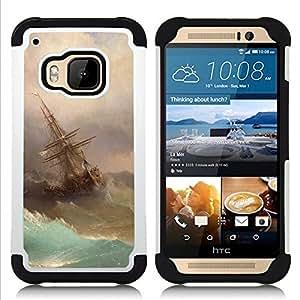 """HTC One M9 /M9s / One Hima - 3 en 1 impreso colorido de Altas Prestaciones PC Funda chaqueta Negro cubierta gel silicona suave (Tormenta Pintura Vela Waves Arte"""")"""