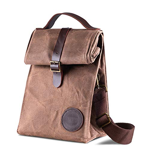 Insulated Waxed Canvas Lunch Bag by Asebbo | Lunch box for women,men with Genuine Leather Handle & STRONG Buckle-Closure to keep your food cool | Lunch tote w/Adjustable Strap (Brown) - Indiana Lunch Box