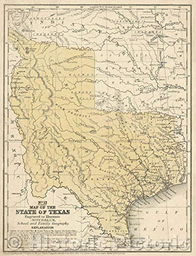 Historic Map | Map of The State of Texas, 1846 | Vintage Poster Art Wall Décor | 18in x 24in ()