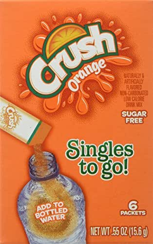 Crush Singles To Go Powder Packets, Water Drink Mix, Orange, Non-Carbonated, Sugar Free Sticks, 6 Count per box, 0.55 Ounce, Pack of 12