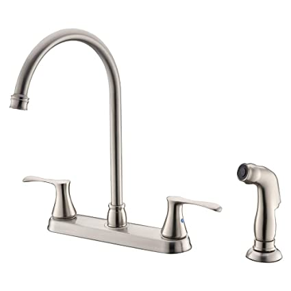 Bokaiya Kitchen Faucet With Sprayer High Arch Stainless Steel Double Handle Kitchen Faucet With Side Spray 4 Hole Brushed Nickel Kitchen Faucet