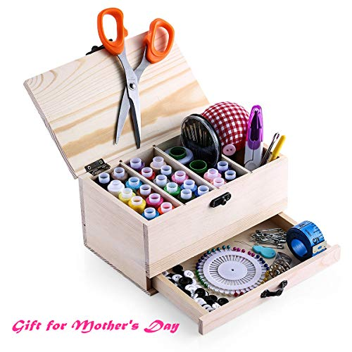 Leopardprintfans Wooden Sewing Basket Box with Sewing Kit Accessories Good Gift for Adults/Kids/Girls/Beginner/Professional and Mother's Day (Quilting Basket)