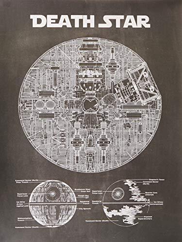 Star Wars Assorted Design Patent Art Poster 18 x 24 inch Silk Screen Prints (Star Wars Death Star Blue Print – Chalkboard)