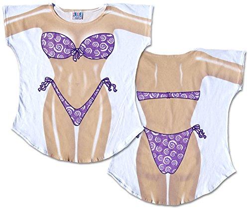 Purple Sparkle Bikini Cover-Up Ladies T-Shirt Size M/L