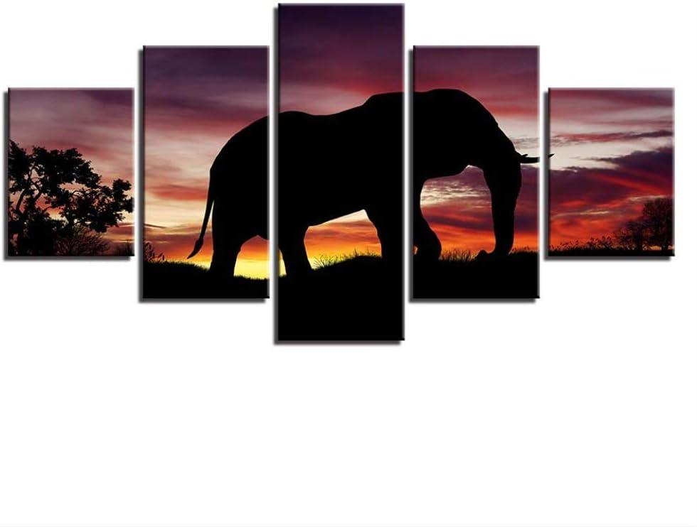 DGGDVP Cuadros de Lienzo Decoración para el hogar Modular 5 Piezas Arte de Pared Puesta de Sol Elefante Pinturas de Silueta Sala de Estar Impresiones en HD Tamaño del póster 1 con Marco
