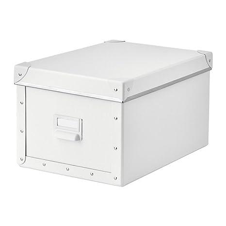 Ikea Fjalla - Caja de almacenaje con tapa, color blanco