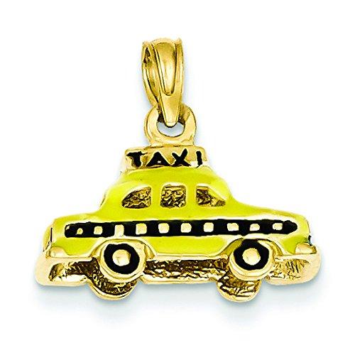 3-d 14 Carats Pendentif émaillé Motif Taxi JewelryWeb