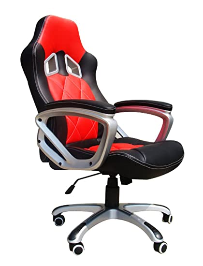 Office Chair Desk Racing Computer Gaming With High Back PU Leather Executive Blackred Amazoncouk Kitchen Home