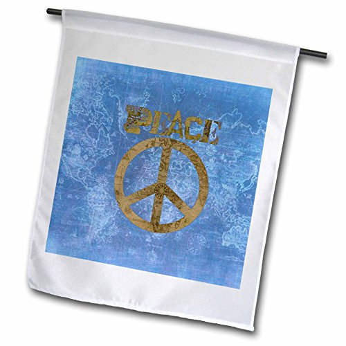 3dRose Blue World Peace Map Sign- Inspirational Art - Garden Flag, 12 by 18