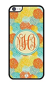 MMZ DIY PHONE CASEiZERCASE Monogram Personalized Yellow and Orange Seamless Pattern ipod touch 5 Case - Fits ipod touch 5 T-Mobile, AT&T, Sprint, Verizon and International (Black)