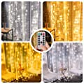 LE Dual Color LED Curtain Lights, 2 in 1 Cool and Warm White, Timer/Remote/Dimmable/9 Modes, 9.8x9.8ft 300 LED, Indoor Outdoor Wall Window String Light for Bedroom, Party, Wedding, Patio and More