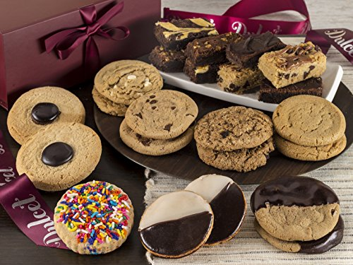 Dulcet's Festive Assortment of Macadamia Nut, Chocolate Chip, Peanut Butter, Oatmeal Raisin Cookies, Walnut, Cheese, and Fudge Brownies, and More Top Cookie and Brownie Gift box!
