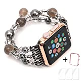 Apple Watch Band,Ezzdo Decorated Handmade Jewelry Faux Pearl Luxury Bracelet Elastic Stretch Replacement Strap + Frame for female Girl iWatch 38mm 42mm Series 1 2 (Jewelry Gray, 38mm)
