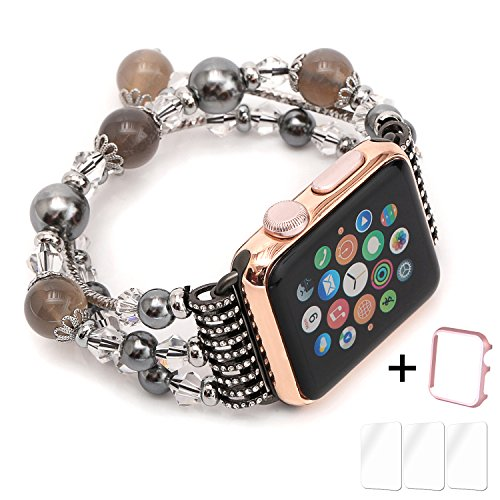 Apple Watch Band,Ezzdo Decorated Handmade Jewelry Faux Pearl Luxury Bracelet Elastic Stretch Replacement Strap + Frame for female Girl iWatch 38mm 42mm Series 1 2 (Jewelry Gray, 42mm)