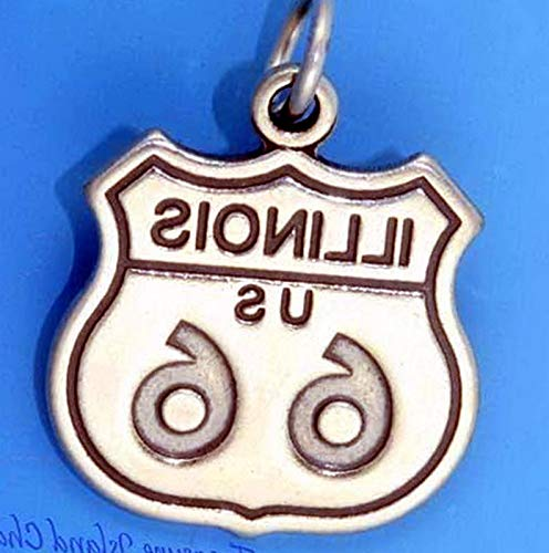 Lot of 1 Pc. Illinois Historic Route 66 Highway Sign .925 Solid Sterling Silver Charm Pendant Vintage Crafting Pendant Jewelry Making Supplies - DIY for Necklace Bracelet Accessories by CharmingSS