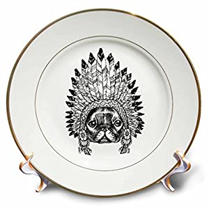 3dRose Sven Herkenrath Animals - Sketch Bulldog With Indian Feather Headdress Black And White - 8 inch Porcelain Plate (cp_262420_1)