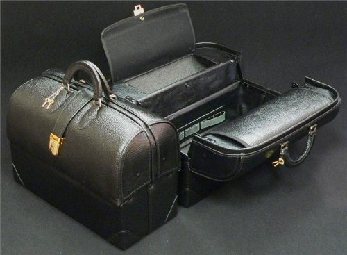 Professional Case - Leather M.D. Paramedic Bag - - Black by Professional Case