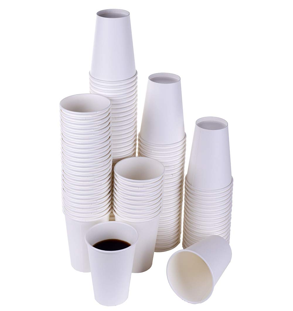 TashiBox 12 oz White Hot Drink Paper Cups - 120 Count - Disposable Paper Coffee Cups