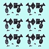 6 Pair Shutter Dog Black Wrought Iron Seashell Wood