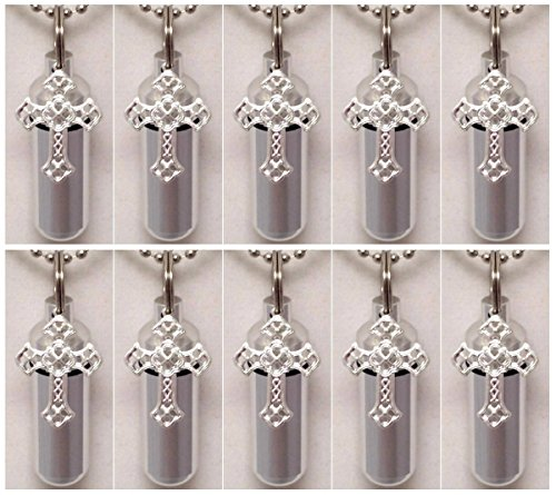 Wholesale Set of 10 - Silver Filigree Cross Personal Cremation Urn Keepsakes with Velvet Pouches & Fill Kit ()