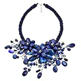 AeraVida Beautiful in Simulated Blue Lapis-Lazuli Floral Bouquet Choker Necklace