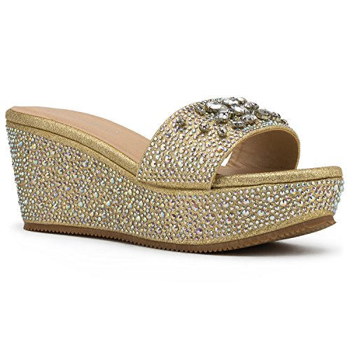 ora-02 Open Toe Rhinestone Embellished Slip On Platform Wedge Sandals Gold (7) (Bora Crystal)