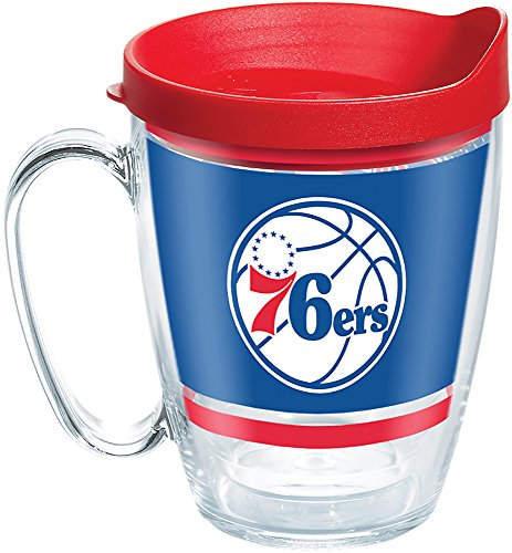 Tervis 1266521 NBA Philadelphia 76ers Legend Tumbler with Wrap and Red Lid 16oz Mug, Clear