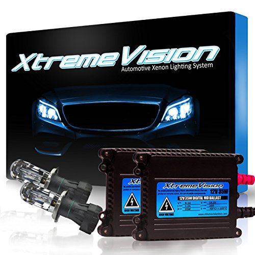XtremeVision DC 35W Xenon HID Lights with Premium Slim Ballast - Bi-Xenon H4 / 9003 5000K - 5K Bright White - 2 Year Warranty ()