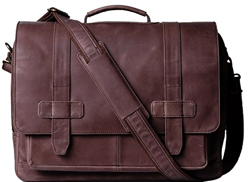 Genuine Leather Messenger Laptop Bag/Briefcase for Men, LOGAN, fits 15.4 inch Laptop, adjustable strap, 16 inch by 12 inch by 4 inch (Chestnut) by Ladderback by Ladderback (Image #6)