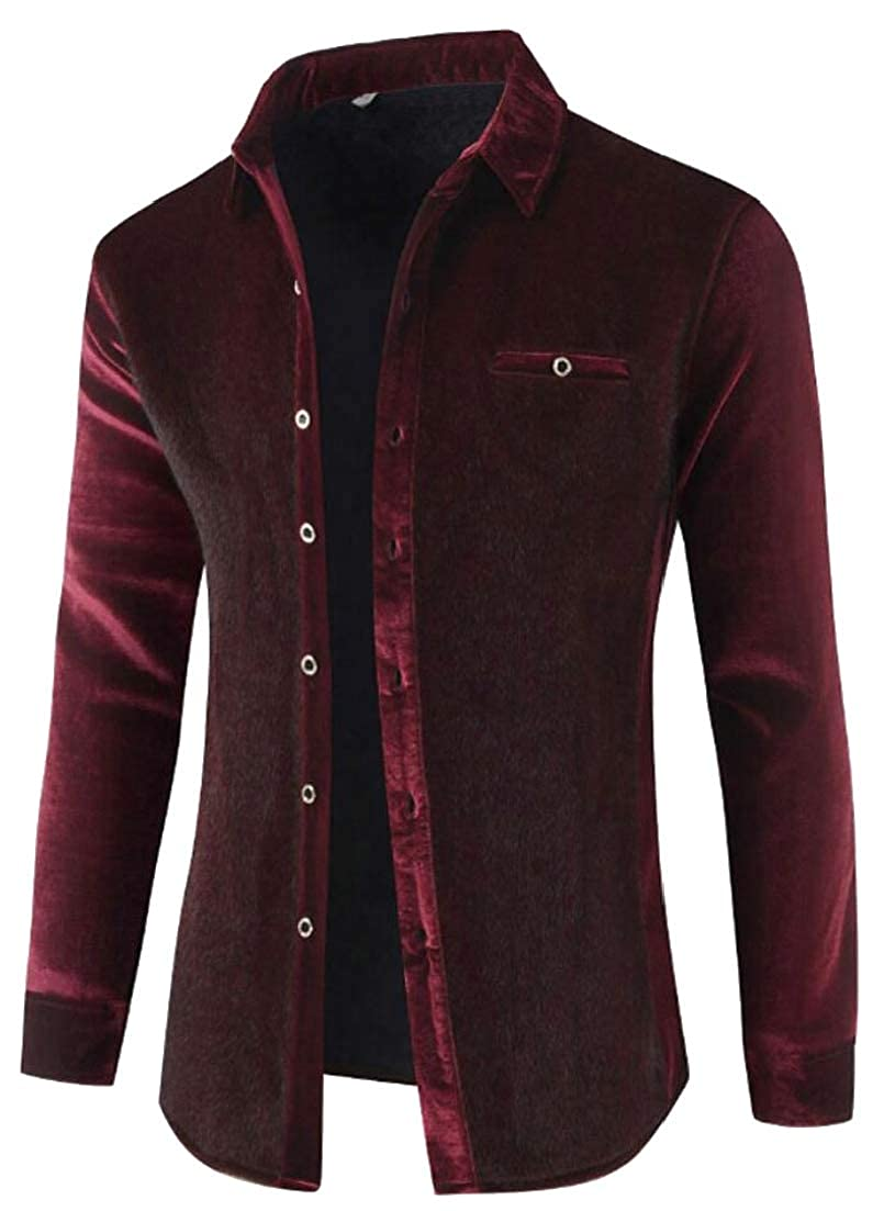Alion Mens Faux Fur Lined Leisure Thick Thermal Winter Button Down Dress Shirts
