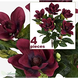 2′ Magnolia Artificial Silk Flower Bushes (Burgundy) for Home, Garden and Decoration, with No Pot, (Pack of 4)
