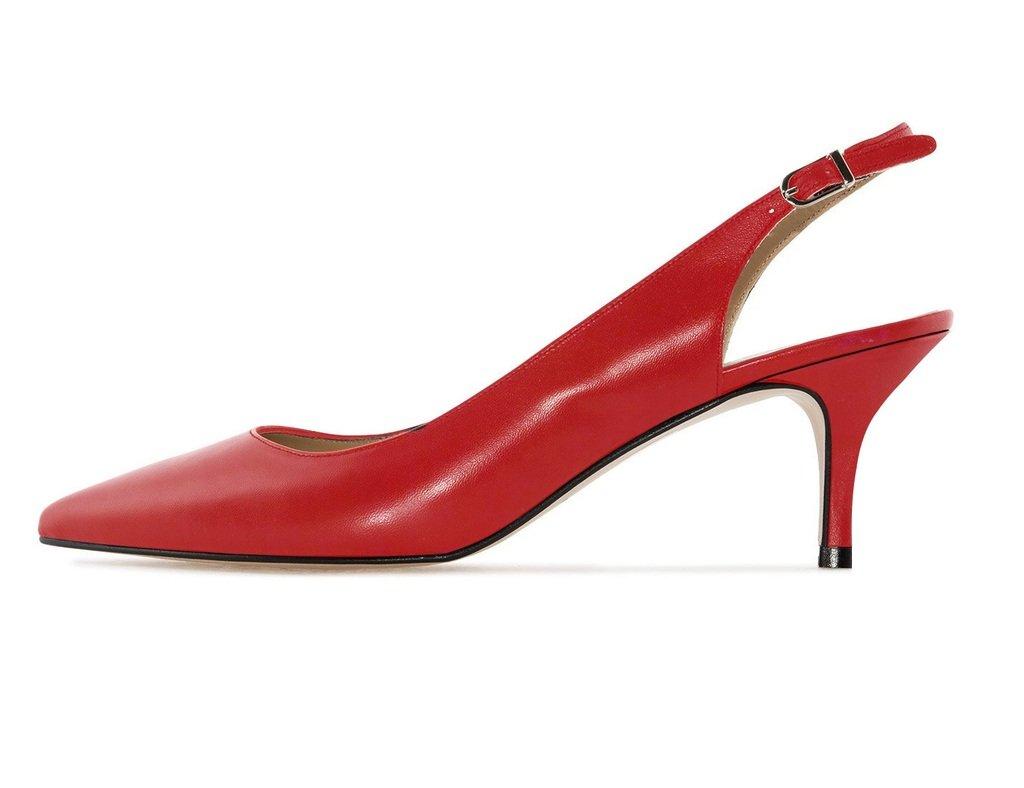 Soireelady - Zapatos con correa de tobillo Mujer 39 EU|Rojo