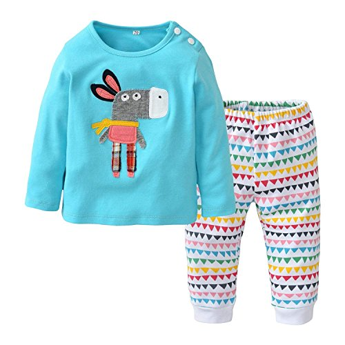 - 2Pcs Newborn Baby Boys Girls Cute Donkey Pringting + Pants Casual Long Sleeve Pajamas Outfits Clothes Set (9-12 Months, Blue)