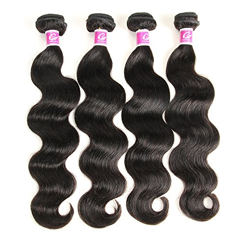 Colorful Queen Brazilian Virgin Hair Body Wave Remy Human Hair 4Bundles Weaves 100% Unprocessed Hair Extensions Natural Color 20 22 24 26Inch by Colorful Queen