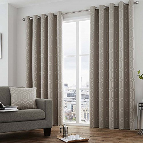(Camberwell Geometric Fully Lined Eyelet Grommet Top Curtains - Stone > 66