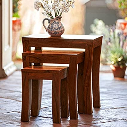 DecorNation Carissa Solid Wood Nest of Tables Set of 3 Nesting ...