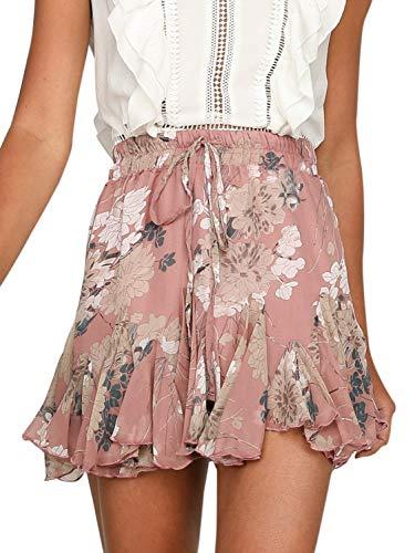 Miessial Women's High Waist A Line Mini Skirt Pleated Ruffle Cute Beach Short Skirt (8, Nude Pink)