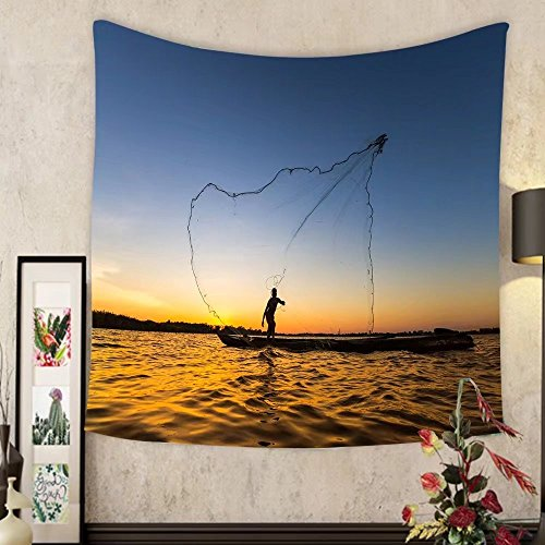 Grace Little Custom tapestry silhouette of fishermen using nets to catch fish at the lake in the morning