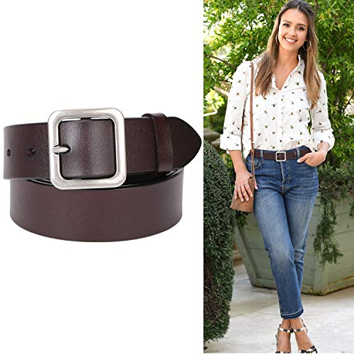 Genuine Leather Belts For Women Jeans Pants Real Leather Belt Pin Buckle Ladies Casual Leather Waist Belts Mother's Day ()
