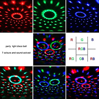 COIDEA Dj Light Disco Ball LED Party Stage Light RGB 7 Colors Sound Activated Strobe Light Portable Mini Stage Lighting for Festival Bar Club Parties DJ Karaoke Outdoor and More(with Remote) by COIDEA