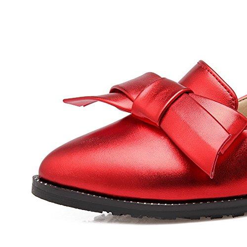 VogueZone009 Damen Ziehen auf Spitz Zehe Mittler Absatz PU Leder Rein Pumps Schuhe Rot