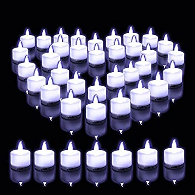 LOGUIDE White Flickering Flameless Led Tea Lights Votive Candles Battery Operated Artificial Real Looking,Wedding Party,Set of 24